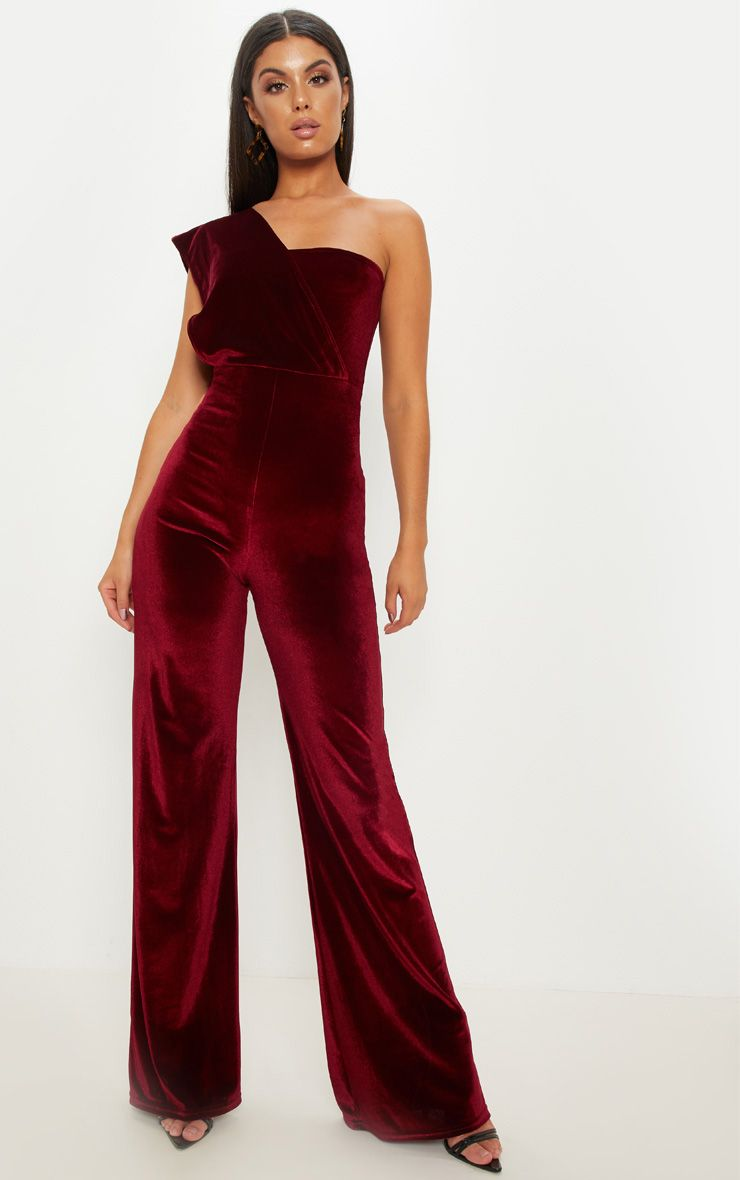 c6b2ae47fffb Burgundy Velvet Drape One Shoulder JumpsuitGet that party-ready look with  this velvet jumpsuit. Featuring a burgundy velvet material, a drape one  shoulder ...