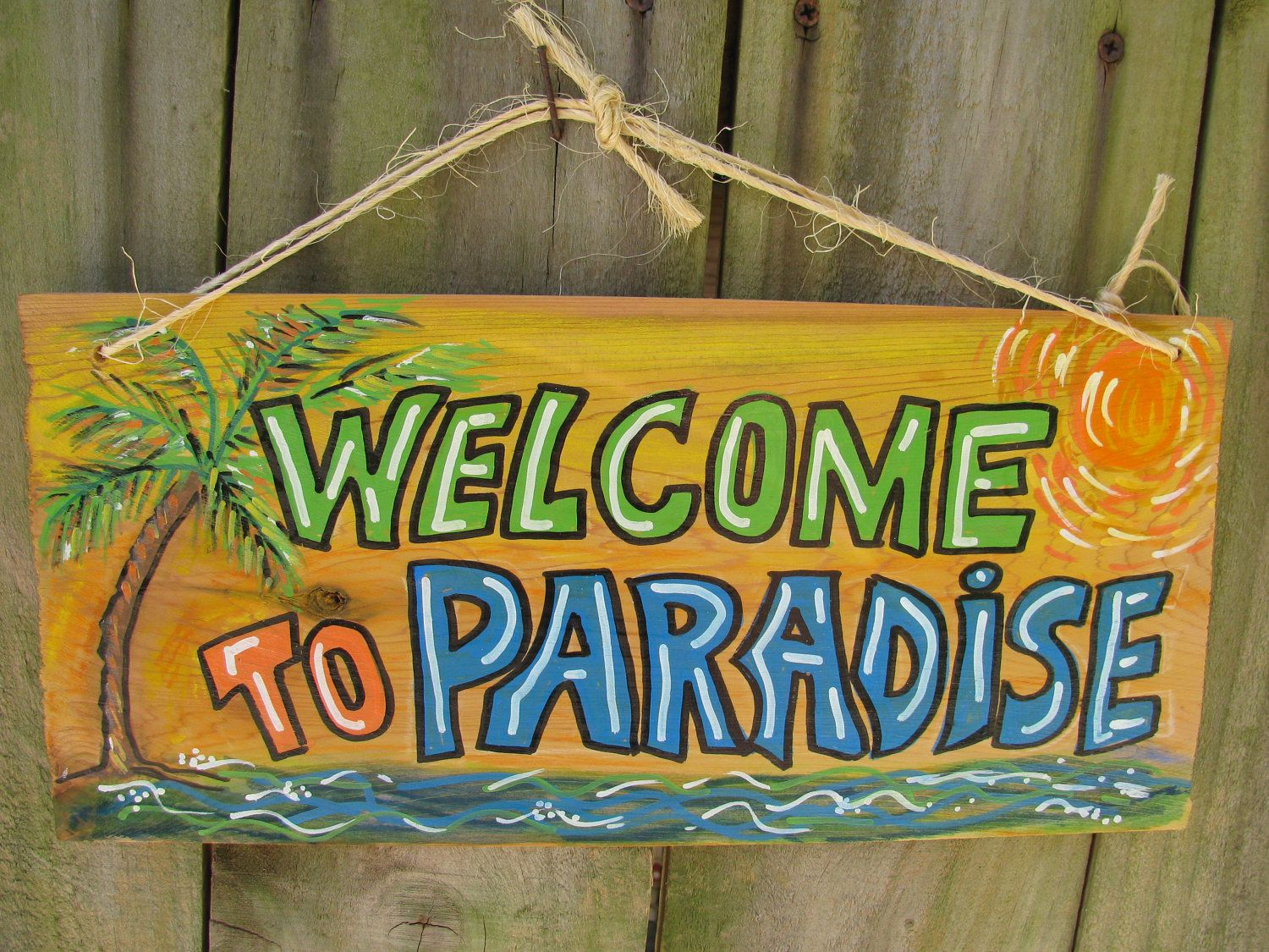 """Backyard Paradise: Sign """"Welcome To Paradise"""" For Your Tiki Bar"""