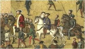 henry_viii_horse_portsmouth - King Henry VIII followed by Sir Anthony Brown, Master of the Horse. From the Cowdray Engravings portraying the King's visit to Portsmouth, July 19, 1545