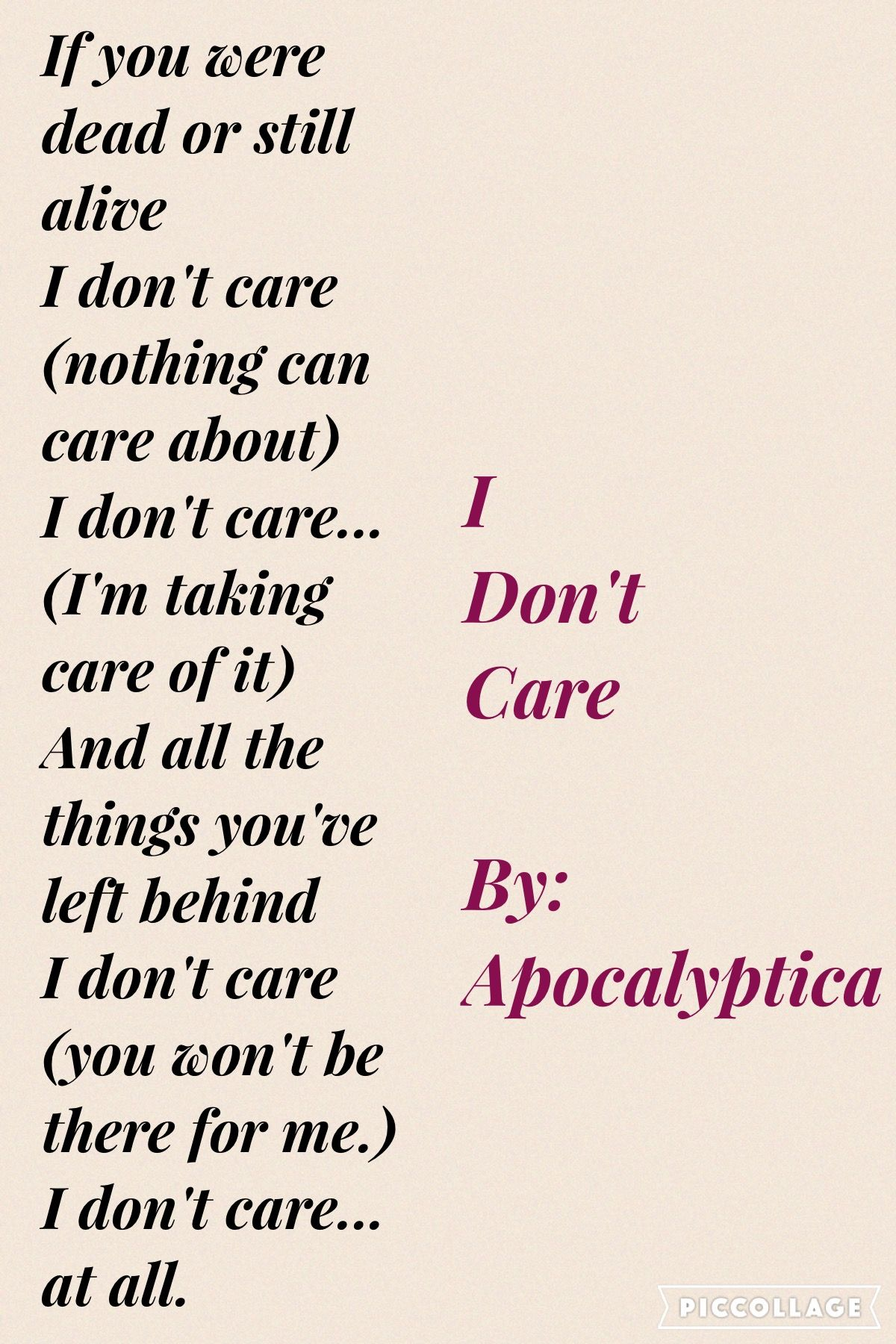 I Don T Care By Apocalyptica Love This Song Love Songs Dead