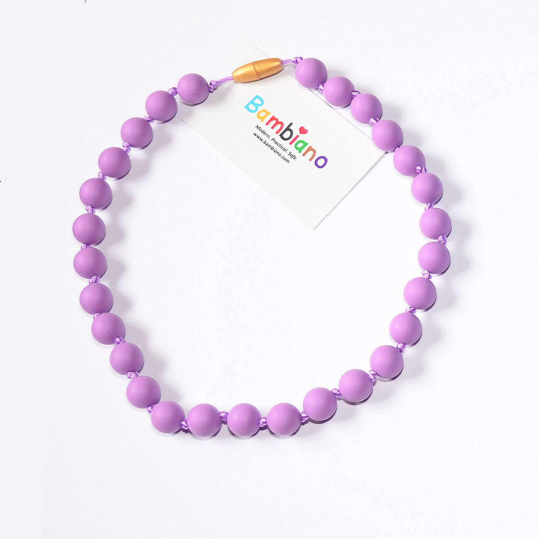 Bambiano Nicole Jr Necklace in Purple. Bambiano Jr Necklaces are made of 100% Food grade silicone. BPA free, Lead free and nontoxic. Fashionable for trendy girls 3 years and above. Necklaces are colourful, washable and soft against the skin. Shop at www.bambiano.com