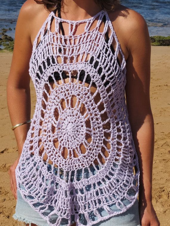 Halter neck crochet top with tie up back. One size fits all. Cotton ...