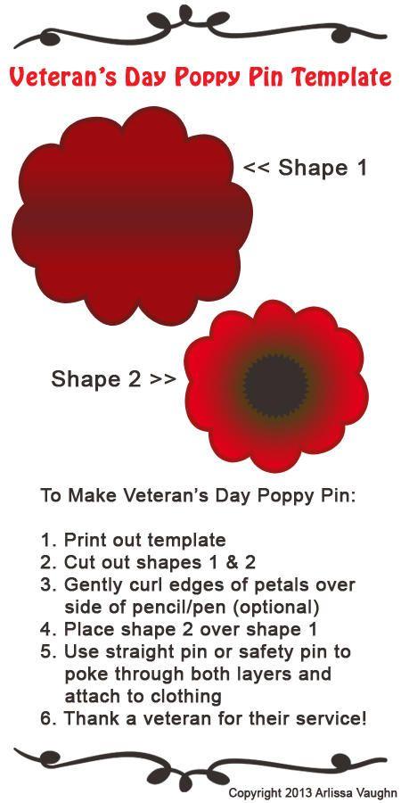 Veteran S Day Poppy Pin Printable Diy