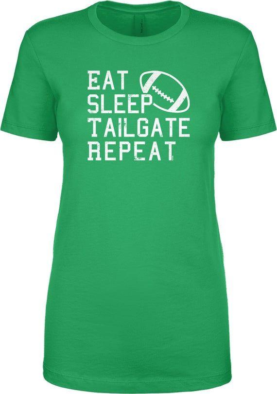Eat Sleep Tailgate Repeat – Football Ladies Short Sleeve Crewneck or V-neck T-shirt -Sports Fall Tou