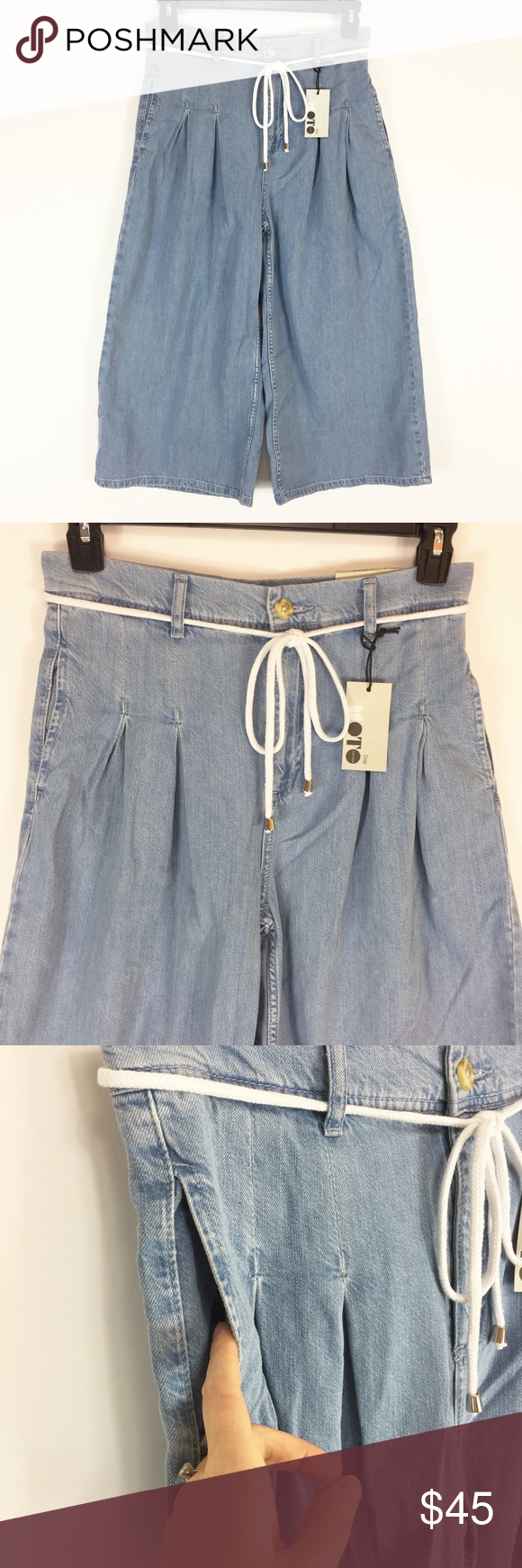 Topshop crop jeans light high rise pleated nwt in my posh