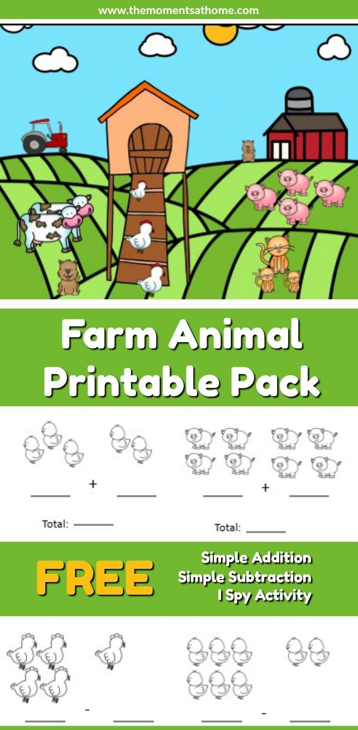 Farm Animal Addition and Subtraction Worksheets | Printable maths ...