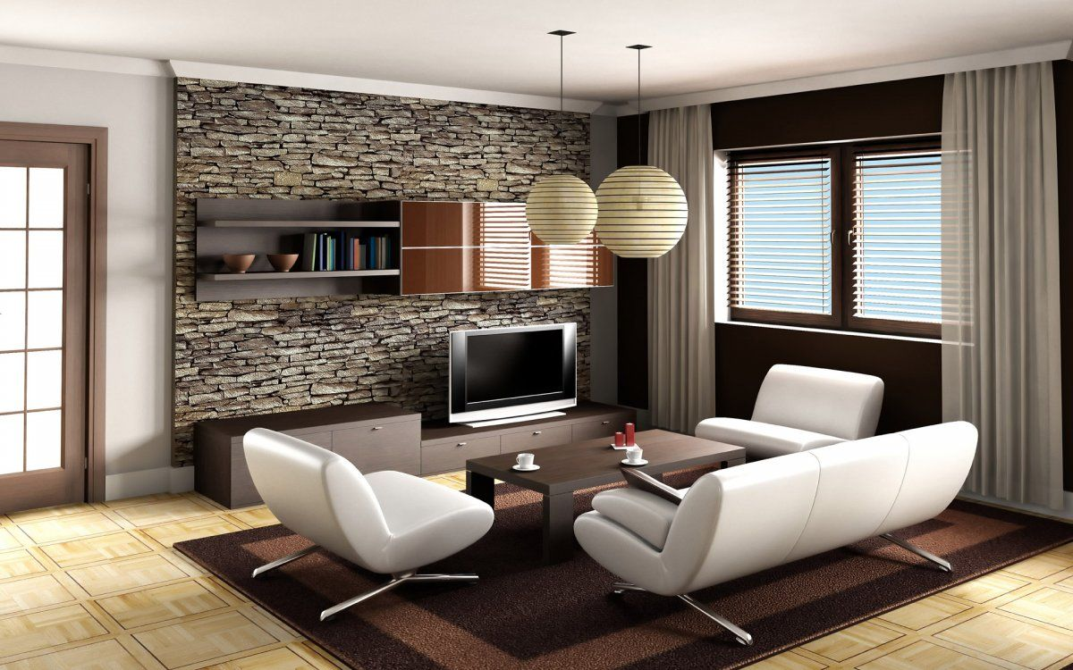 Genial Open Living Room With Stacked Stone Wall