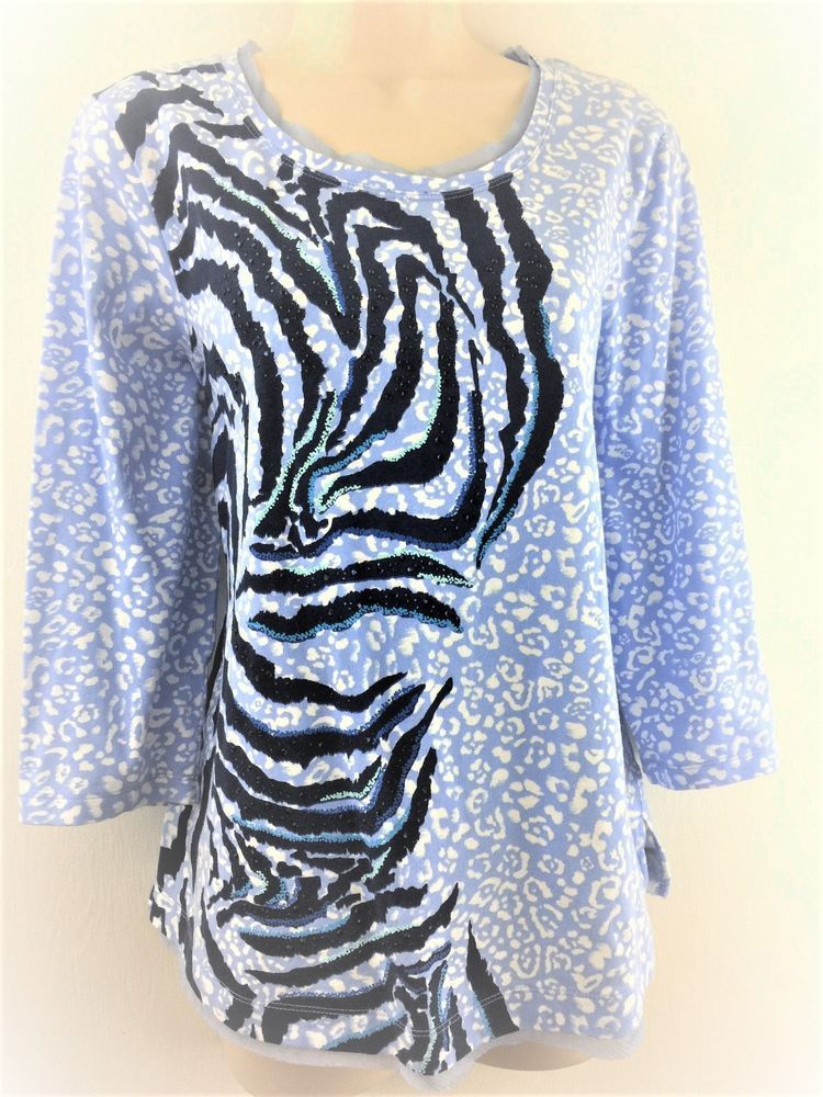 Zenergy Chicos 2 Top Blue White Animal Print Embellished Cotton Blouse M 12 14 #Chicos #KnitTop #Casual
