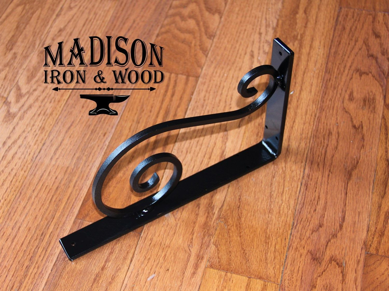 Heavy duty decorative s scrolled shelf bracket forged angle bracket