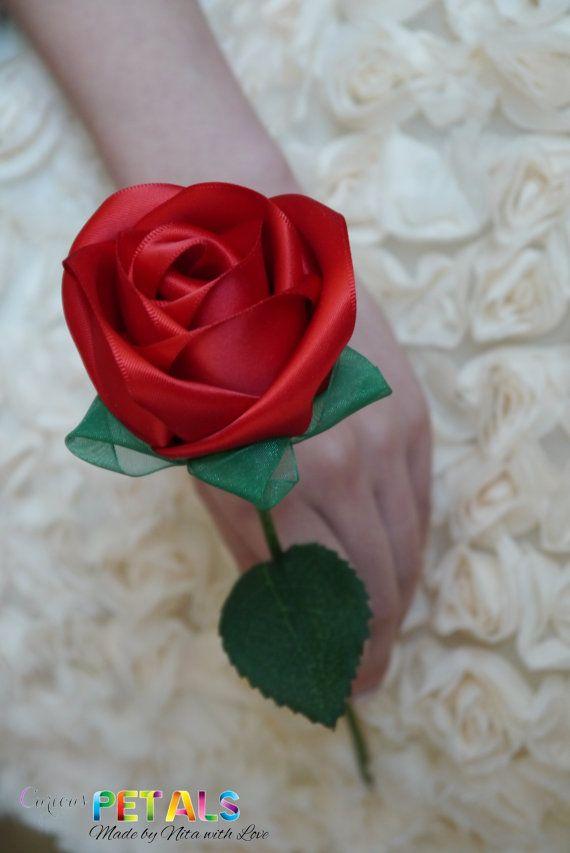 Luscious Red Ribbon Rose, Handmade Satin Rose/Wedding Bouquet ...