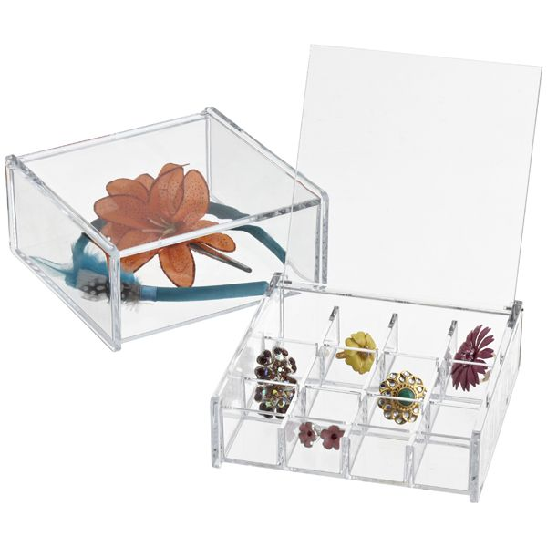Acrylic Square HingedLid Box Organizing Squares and Container store