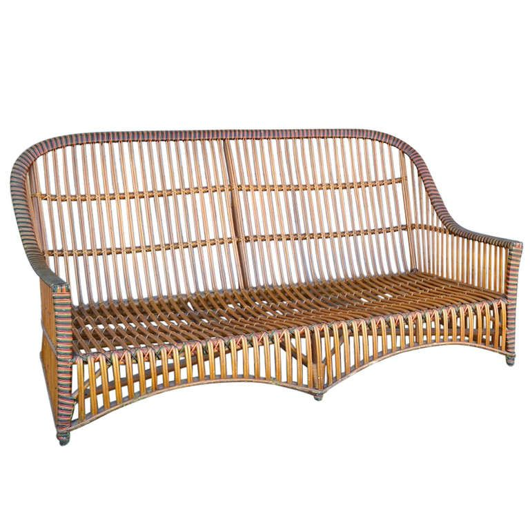 Ficks Reed Split Stick Wicker Sofa