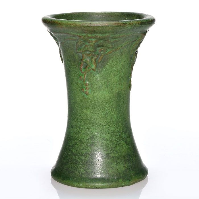 Peters And Reed Matte Green Vase With Molded Ivy Design Art