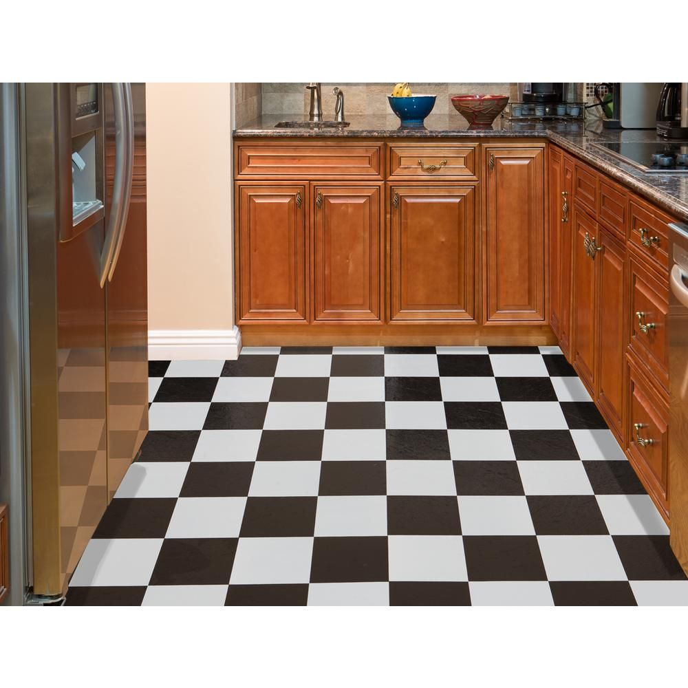 Achim Nexus Black And White 12 In X L Stick Checkered Pattern Vinyl Tile 20 Sq Ft Case