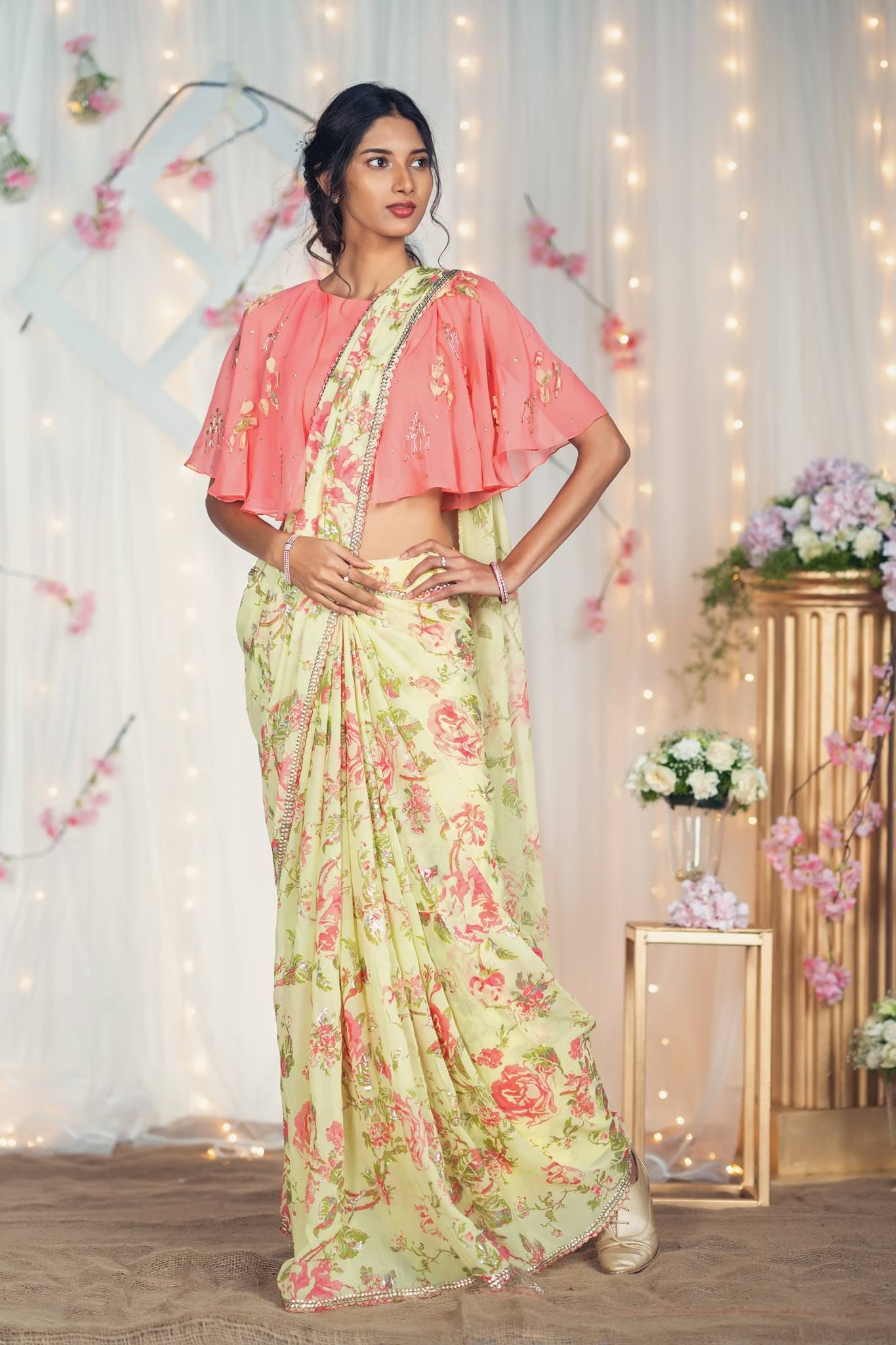 Wedding decorations traditional october 2018 A French Affair Yellow Organza Thread Embroidered Saree with Pink