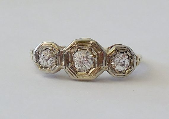 Vintage Antique .50ct Diamond H VS 18k Yellow White Gold Engagement Ring Art Deco The Stone Ring 1920's