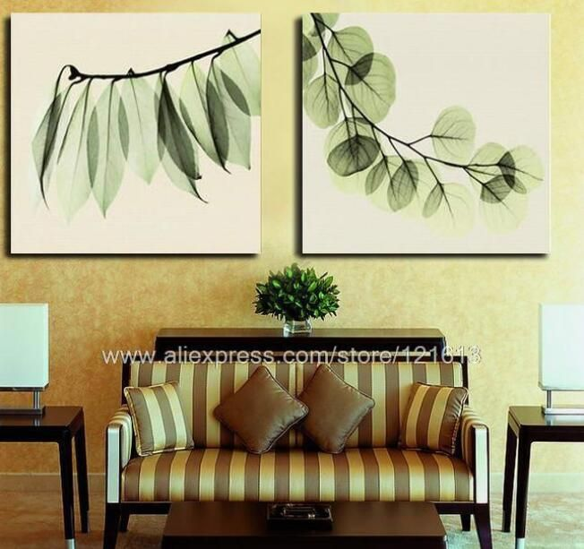 Exhilarating Green Leaves Canvas Diptych Choice Of Oil Painting ...