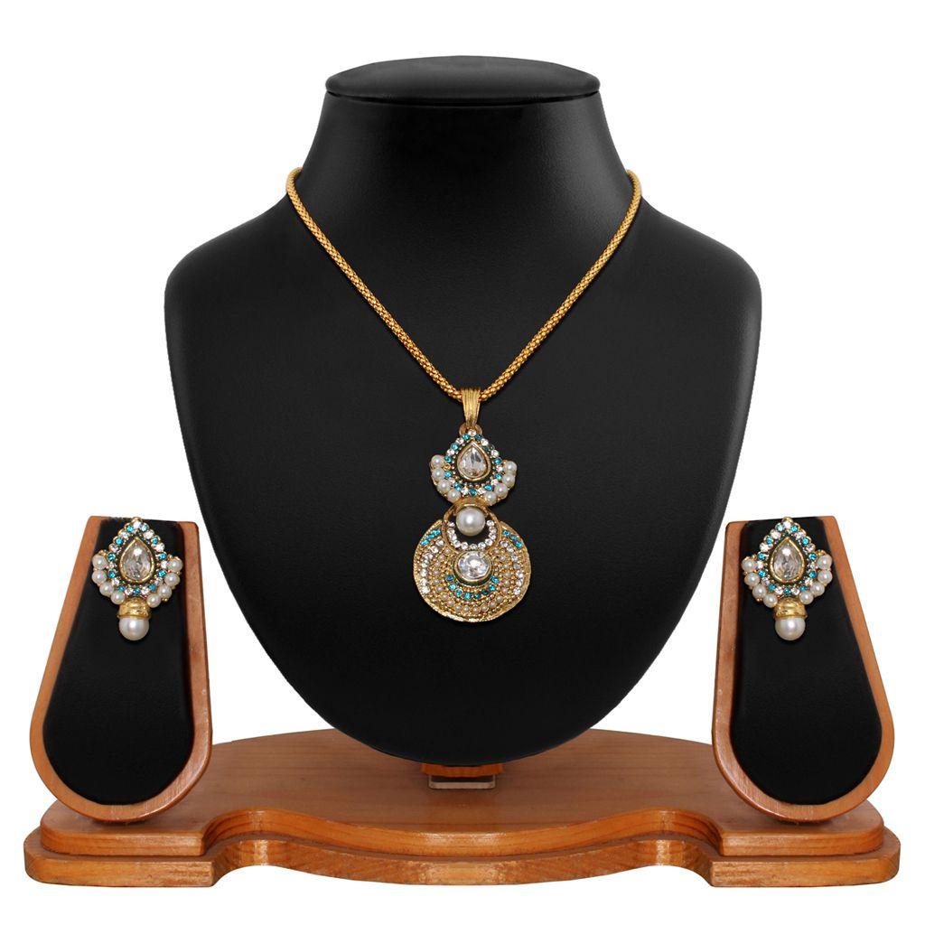 Blue alloy kundans necklace with earrings jewellery