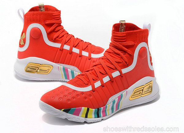 5f8034ef0ae2 Mens Under Armour Curry 4 Mid Basketball Shoes Bright Red White Gold  Muliticolor