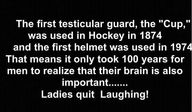 I bet a woman thought up the helmet...