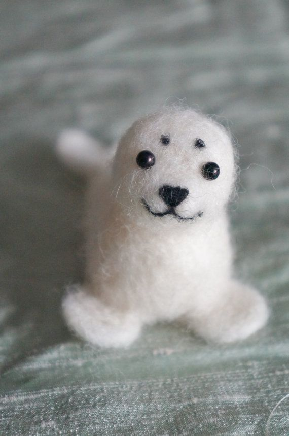 Wool Felted Baby Harp Needle felted Seal by JanetsNeedleFelting, $20.00