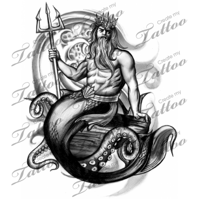 king neptune tattoo flash images galleries with a bite. Black Bedroom Furniture Sets. Home Design Ideas