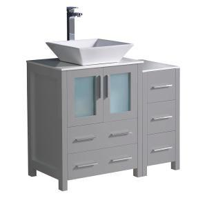 Fresca Torino 36 In Bath Vanity In Gray With Glass Stone Vanity