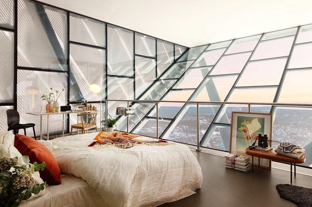 Bedroom on top of the Holmenkollbakken in Oslo Norway via