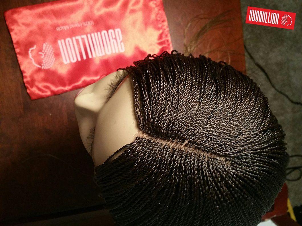 Short auburn lace front micro braids wig handmade wig bob