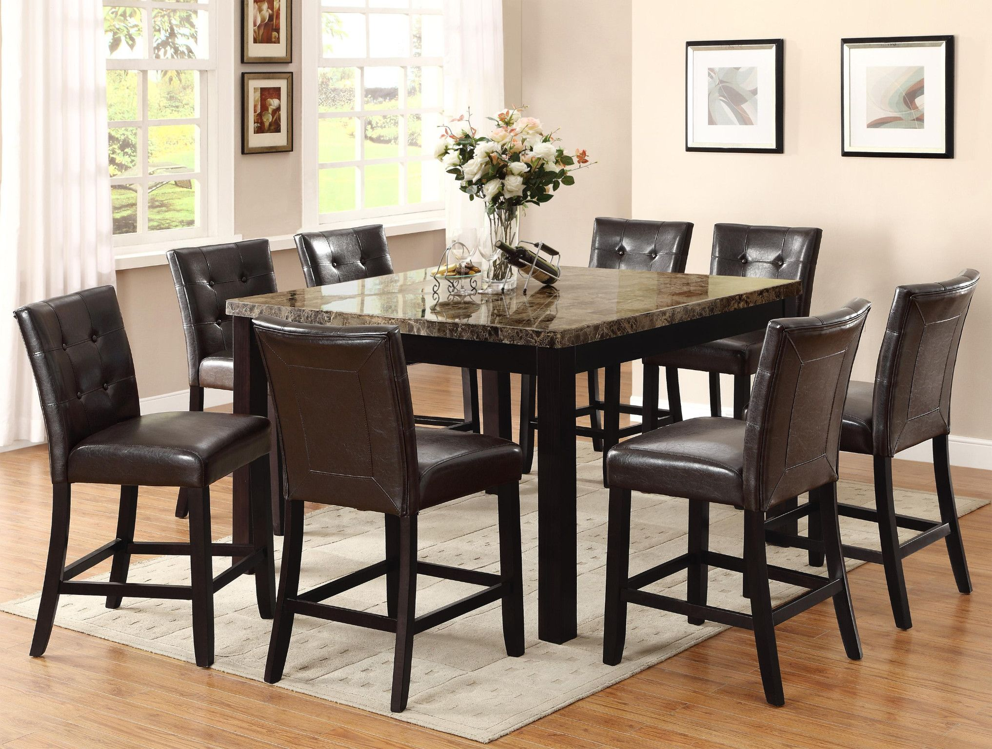 Bruce Genuine Marble Top 5 Piece Counter Height Table And 4 Chairs 769 00 Table Modern Square Dining Table Dining Room Design Square Dining Tables