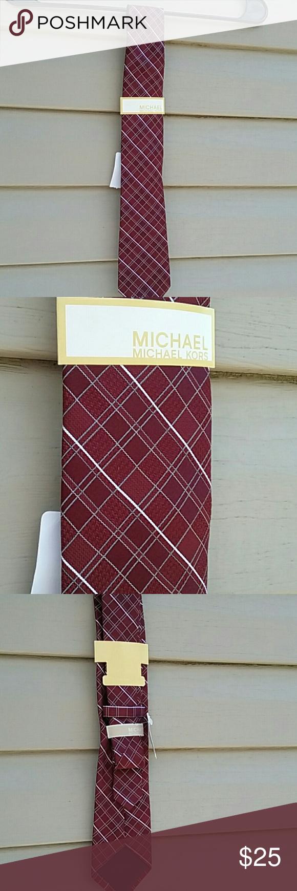 """Michael Kors tie NWT Michael Kors tie """"tonal houndstooth grid"""" burgundy Michael Kors Accessories Ties"""