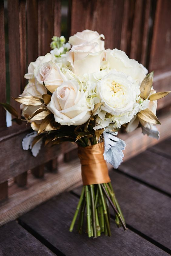 White rose and gold leaf bridal bouquet via sharaya mauck for Gold flowers for wedding bouquet