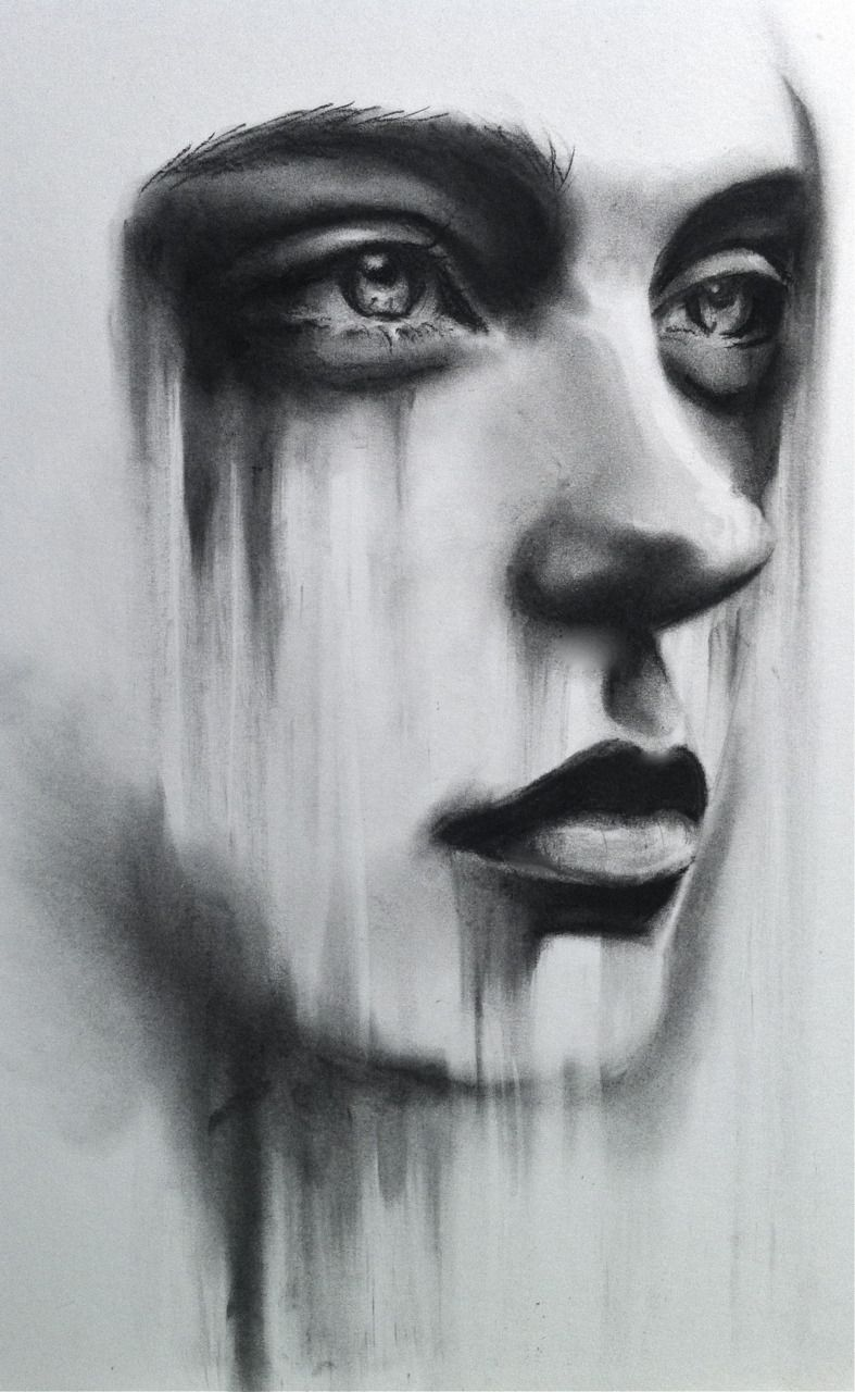 womans face by lizziebishop emotions drawings art charcoal art