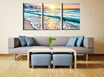 Amazon Com Qicai 3 Panel Canvas Wall Art For Home Decor Blue Sea