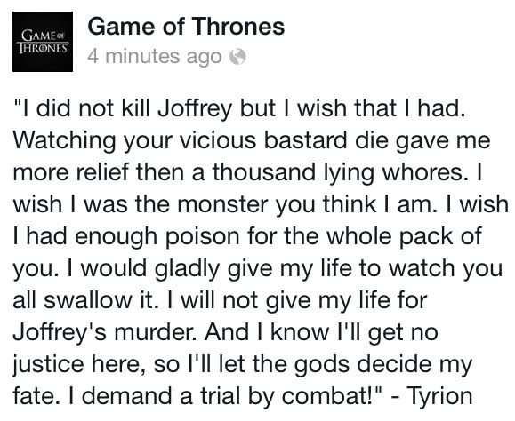 Best scene of the episode & Tyrion's best scene in a long time.