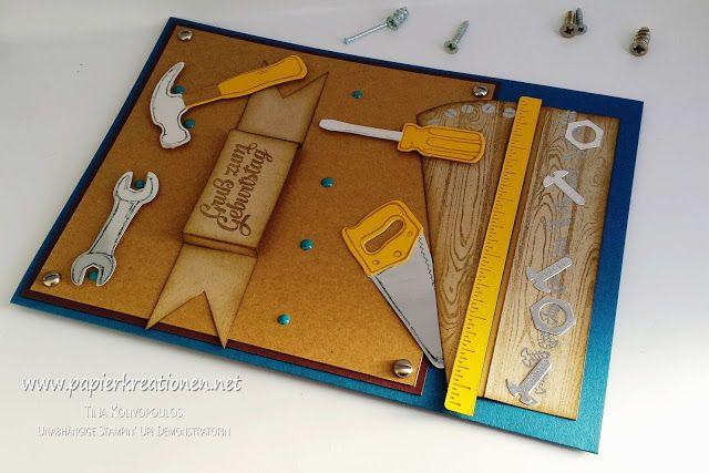"""Männerkarte mit dem Stampin' Up! Set """"Hammer!"""" zum Geburtstag. Wer findet das versteckte Tortenstück? :)"""