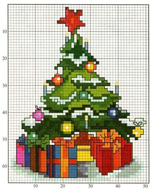 Kerstboom Met Cadeautjes Patroon Kerst Borduurwerk Borduren