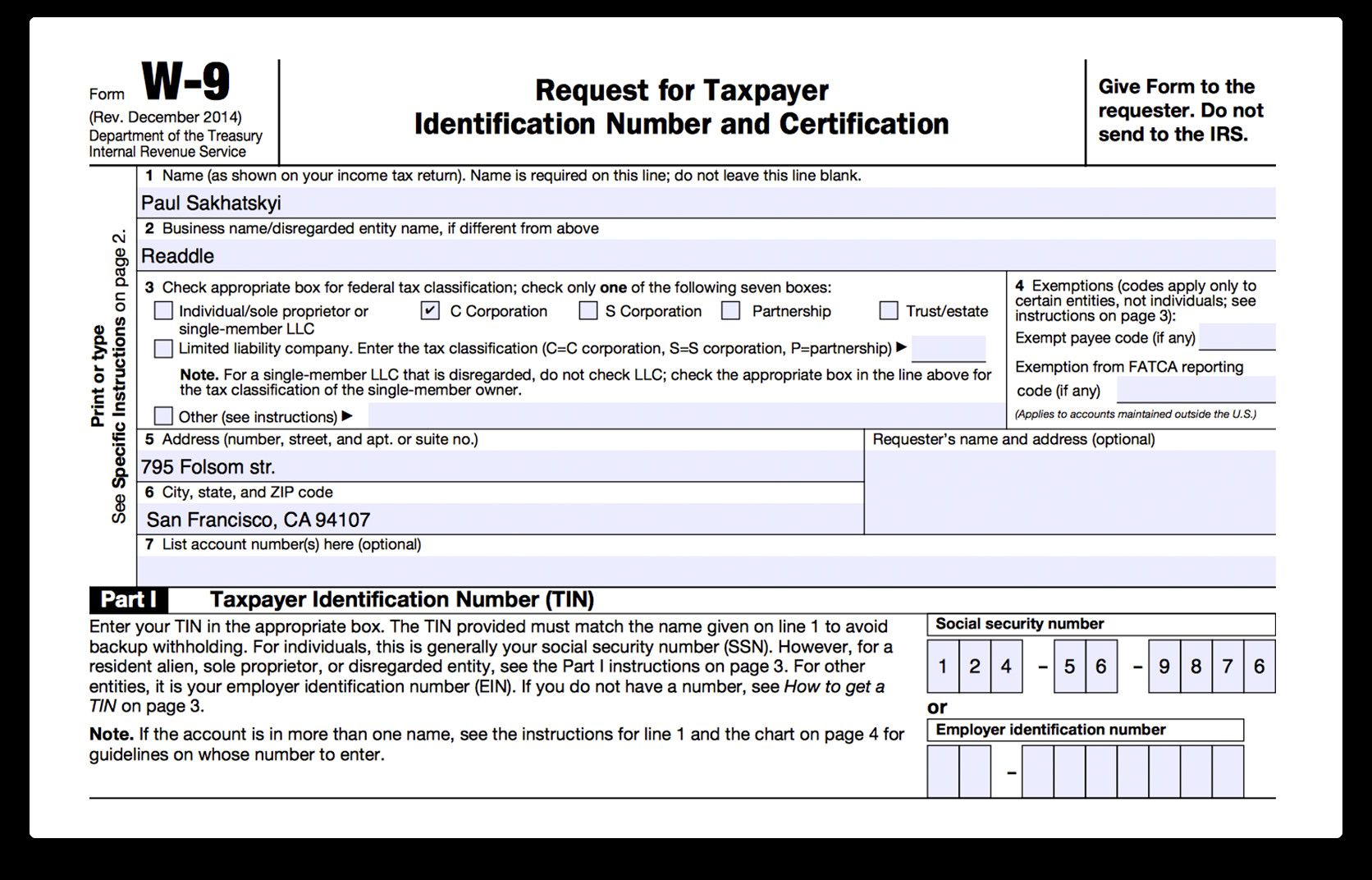 Free W9 Fillable form How to Fill Out Irs form W 9 2017