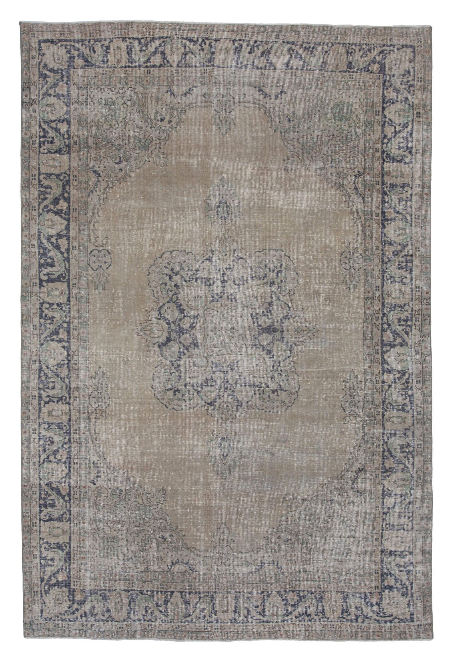 7x10 Beige Turkish Vintage Area Rug - 4741
