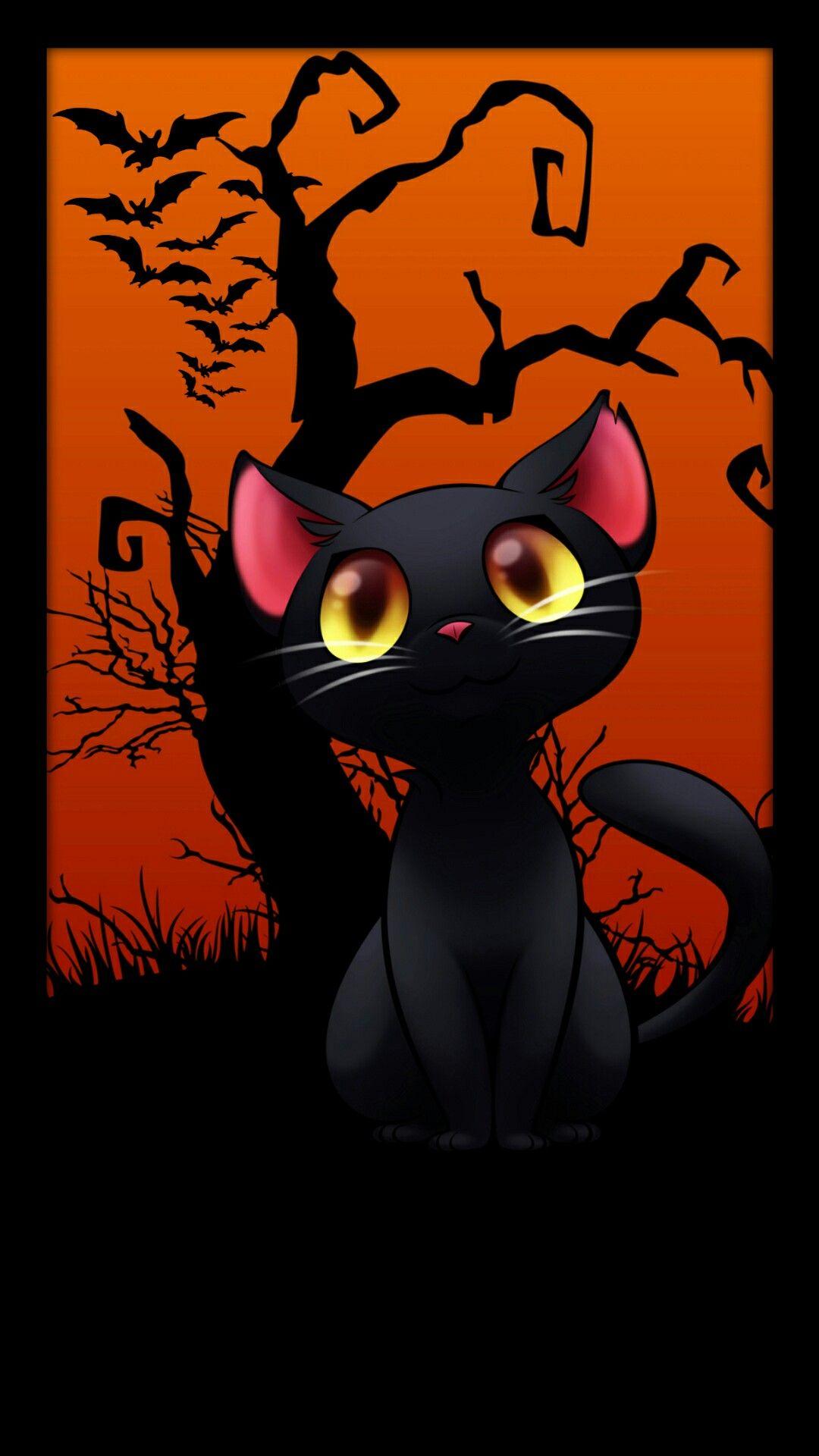 Halloween Black Cat Halloween wallpaper, Cat art, Cat