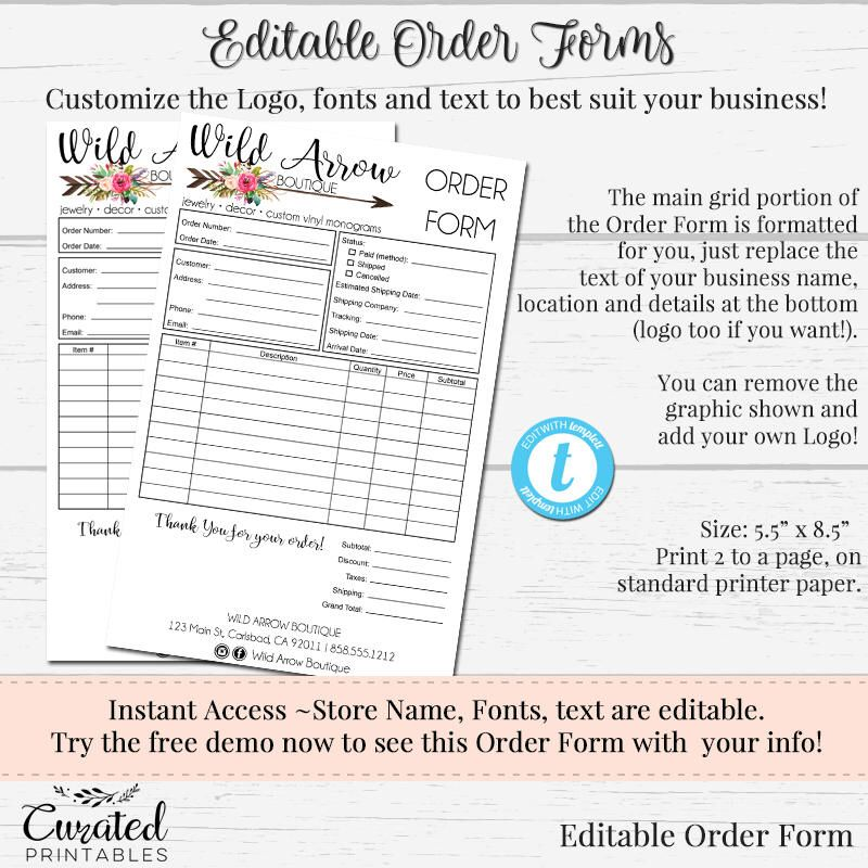 Order Form Customizable Order Form Editable Order Form Order Form - Custom order form template