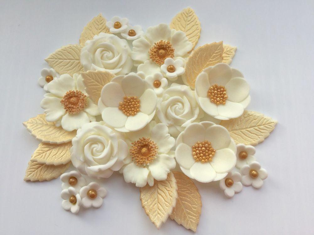 GOLDEN WEDDING PETALS /& ROSES edible sugarpaste flowers decorations cake