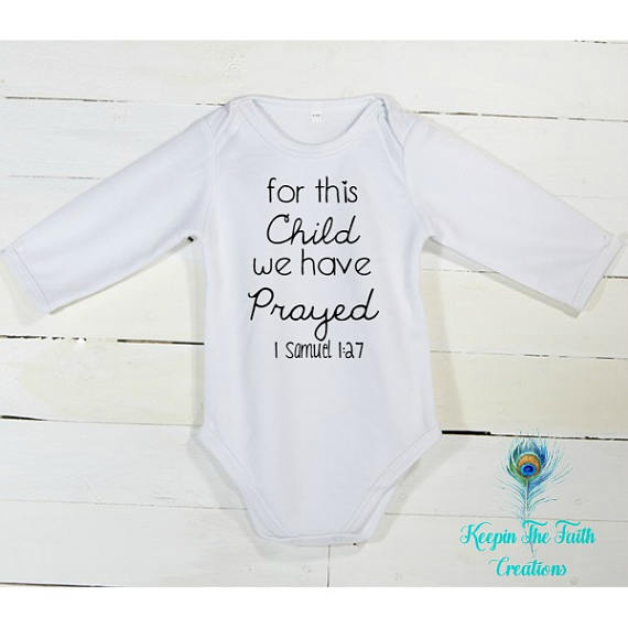 e797e5222 For This Child We Have Prayed Onesie - Christian Baby Onesie - Religious Baby  Onesie - Bible Verse Onesie - 1 Samuel 1:27 Onesie - IVF Gift $12.99+