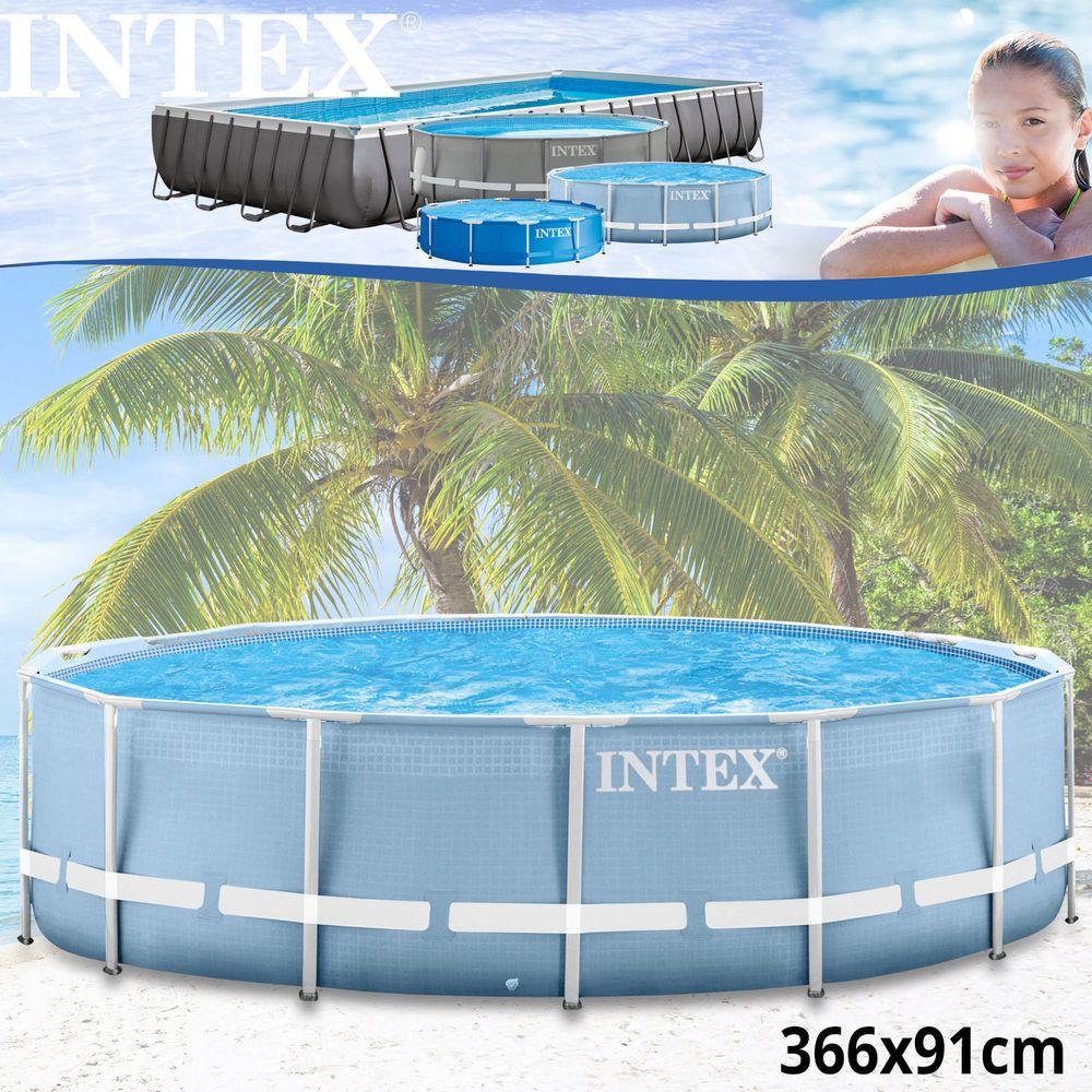 Swimming Pool Schwimmbad Frame Metal Stahlwand Intex 366x91cm ...