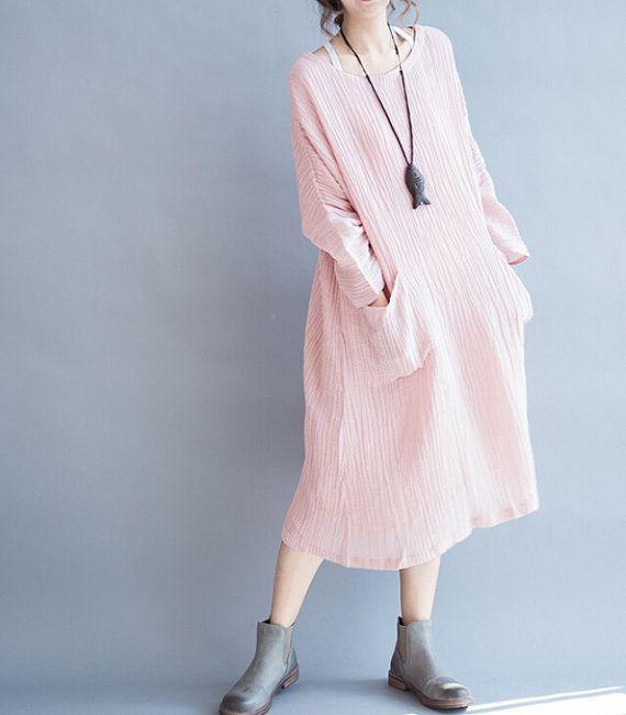 linen fold oversized loose long maxi dress by MaLieb on Etsy