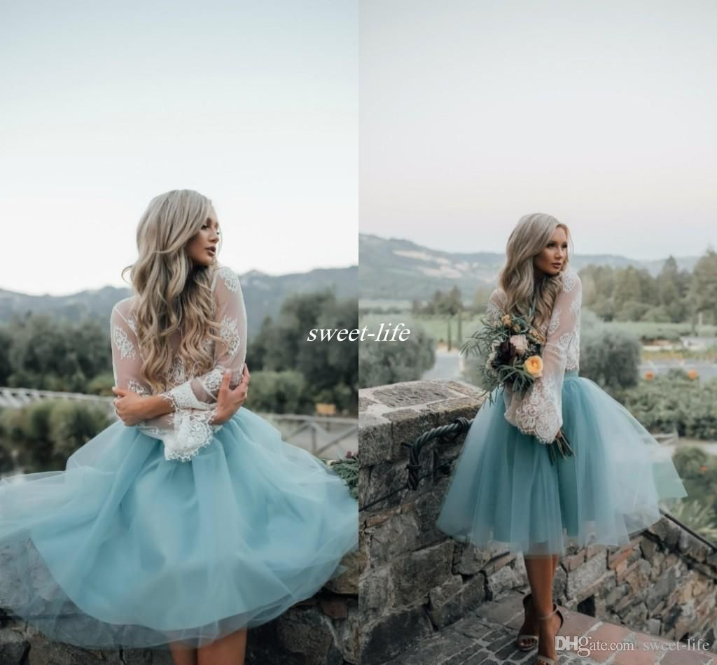 Two pieces lace top long sleeve bridesmaid dresses for boho two pieces lace top long sleeve bridesmaid dresses for boho wedding 2017 dusty blue knee length tulle reception party maid of honor dresses ombrellifo Gallery
