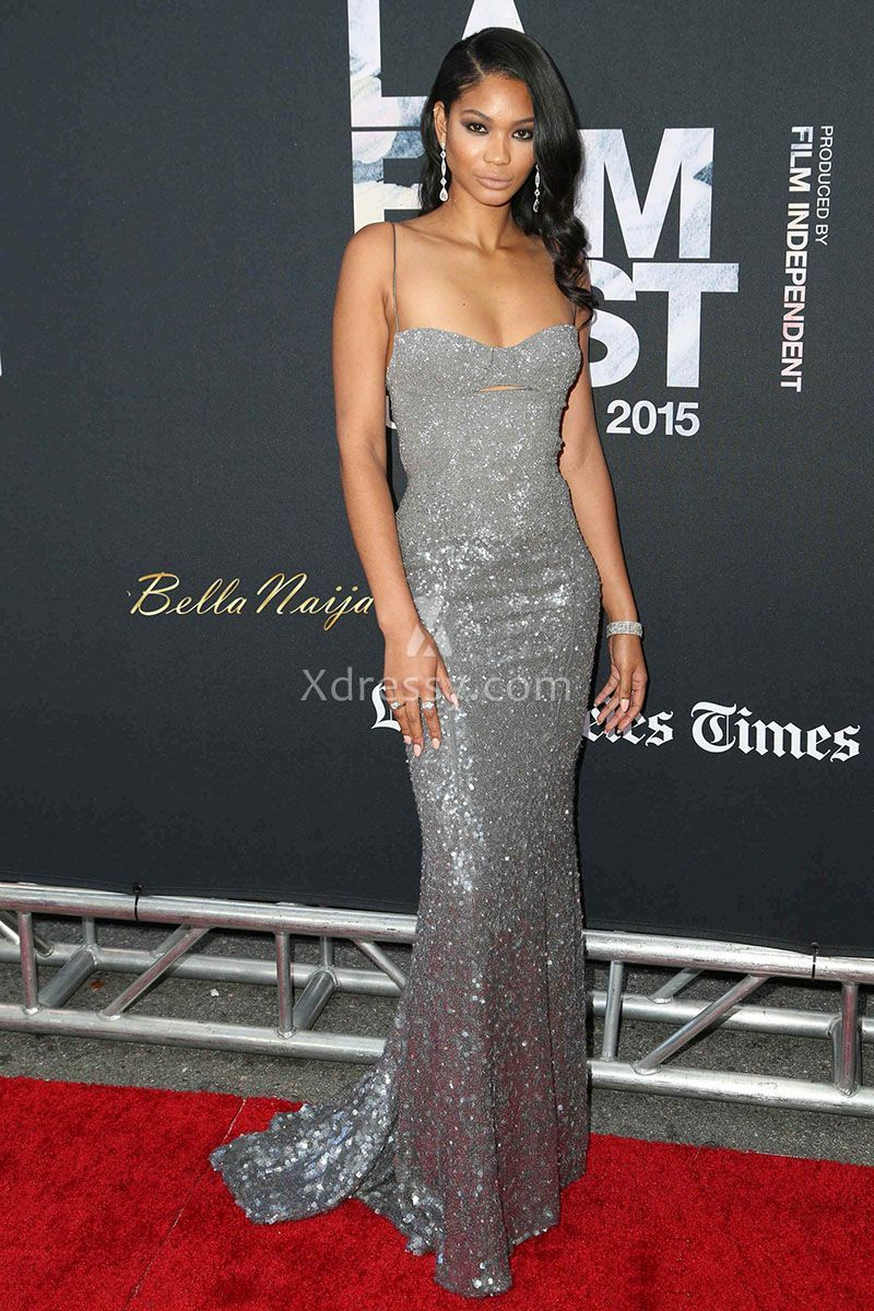 Chanel Iman Silver Sequin Sweetheart Fit Mermaid Prom Gown Dope Premiere 92c6863c3e63