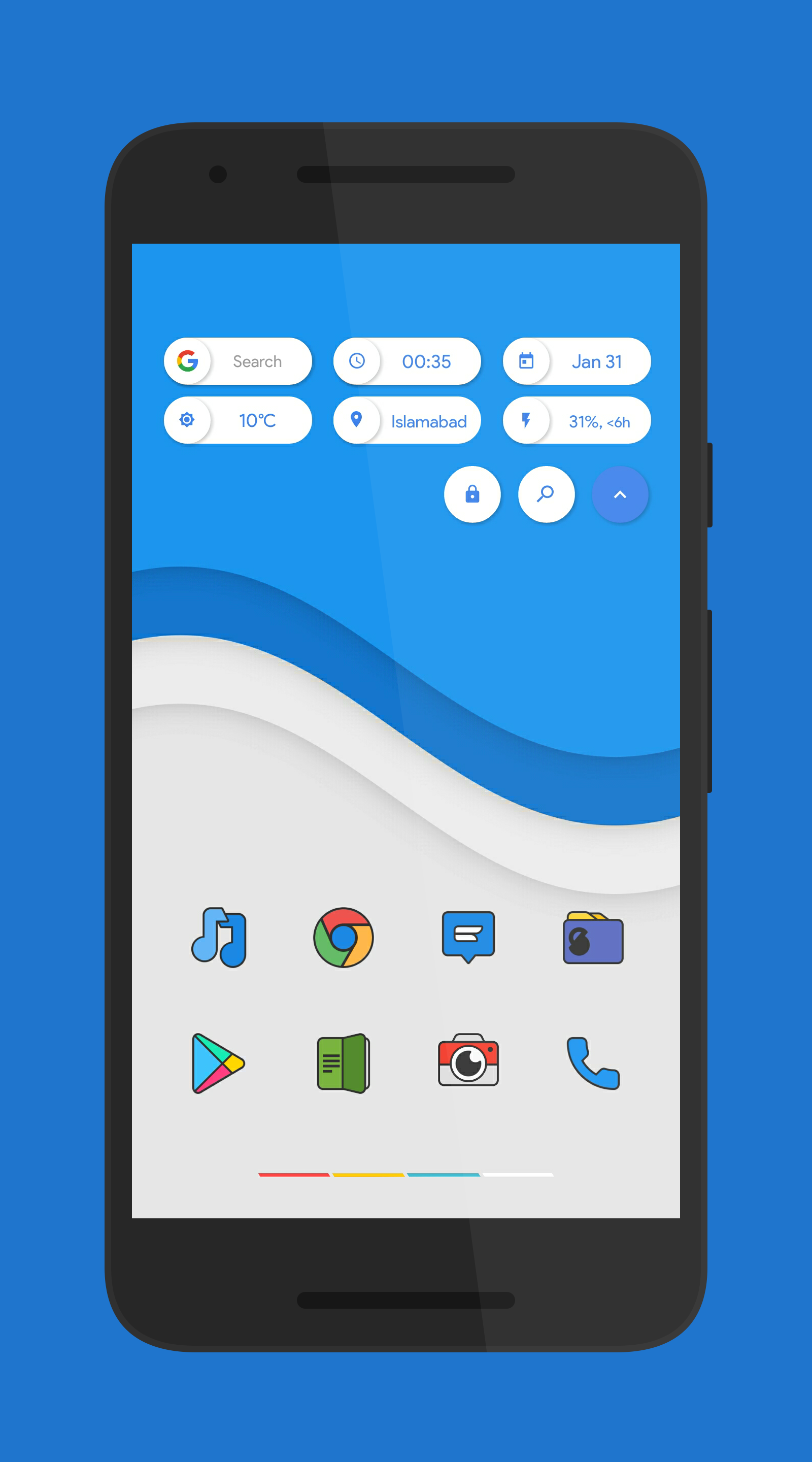 Blue Wave Homescreen, Android theme, Android phone