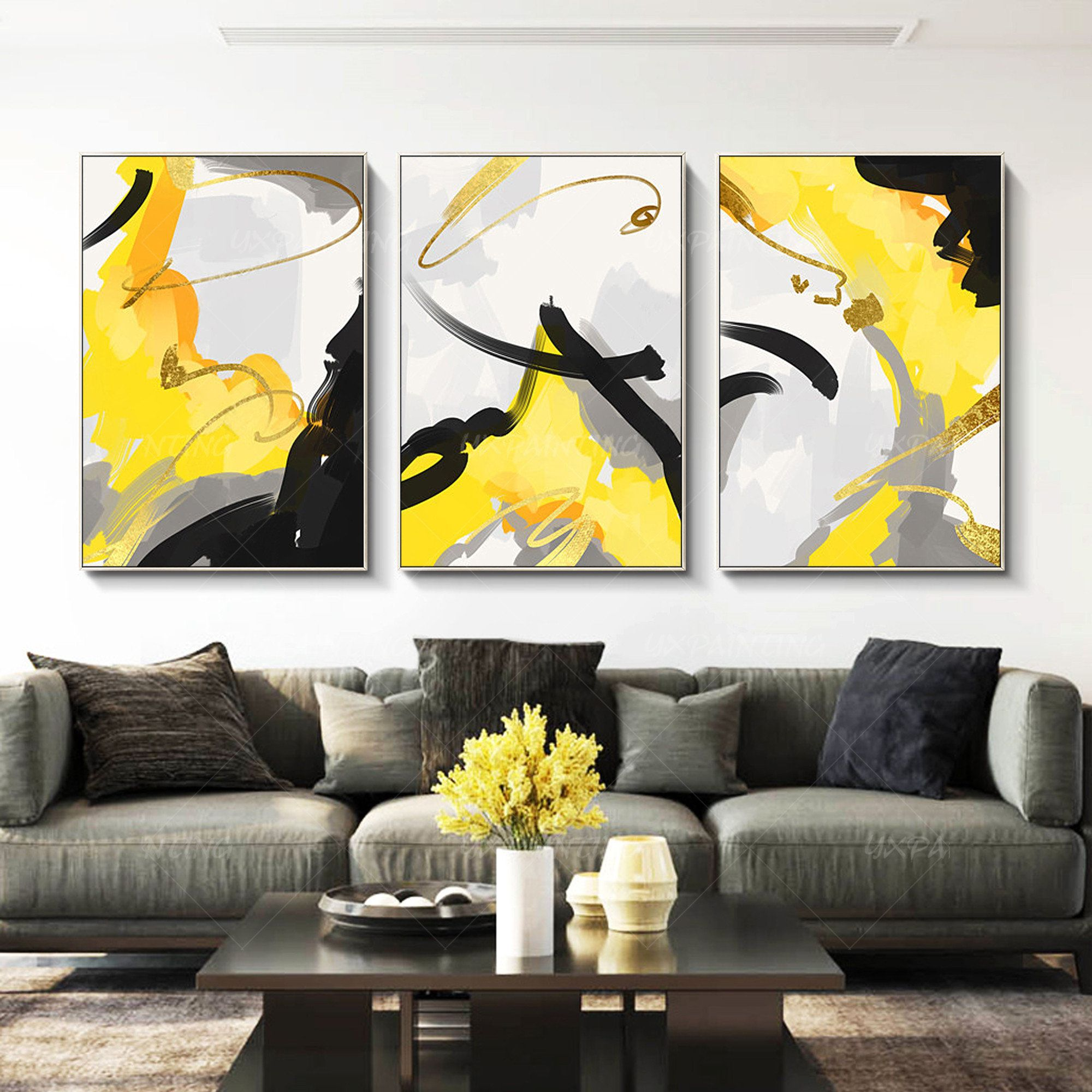 Mustard Yellow Painting Gold Art Set Of 3 Wall Art Acrylic Etsy Large Framed Wall Art Yellow Painting Framed Wall Art