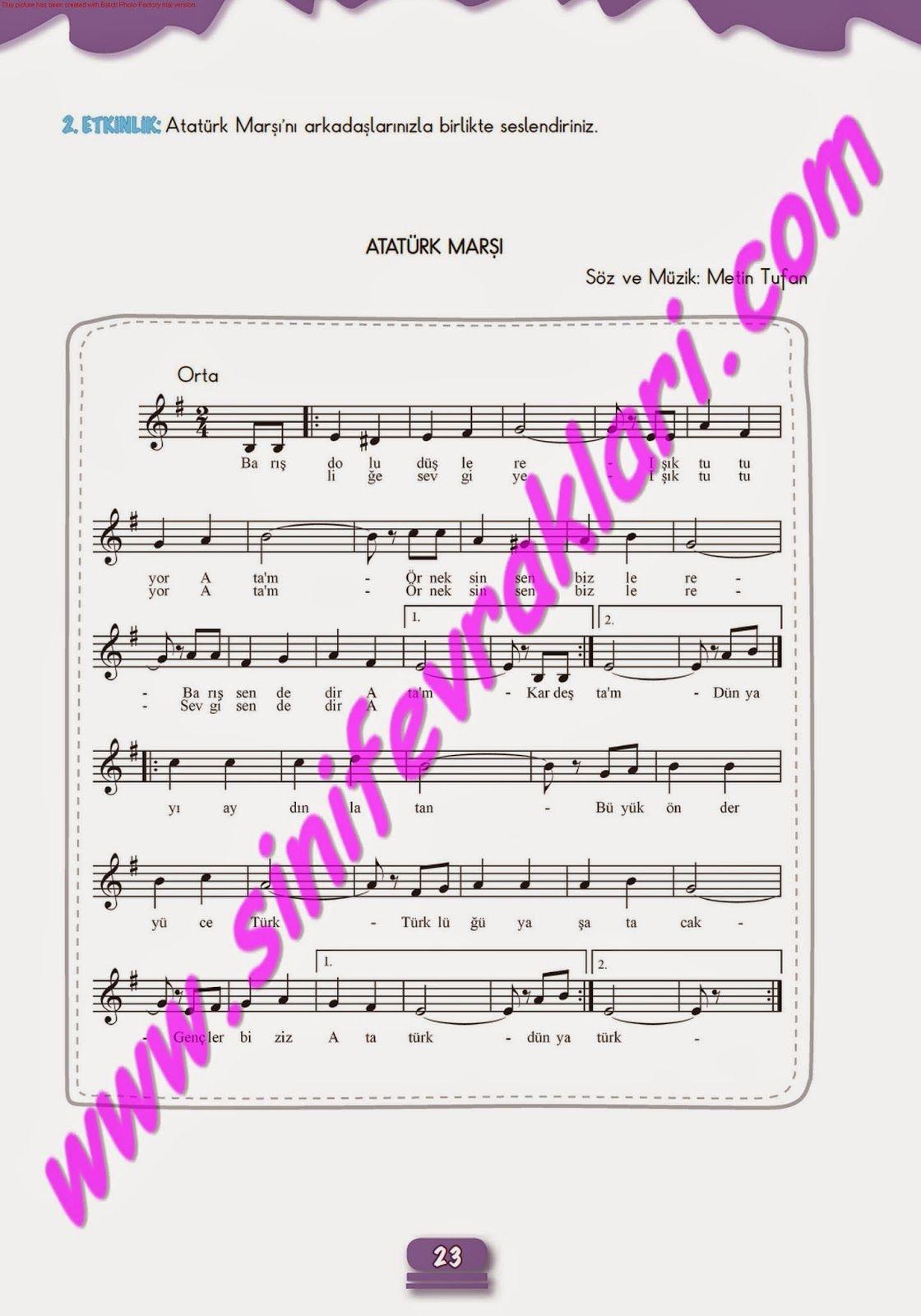 7sınıf Müzik çalışma Kitabı Cevapları Meb Yayınları Sayfa 23 7